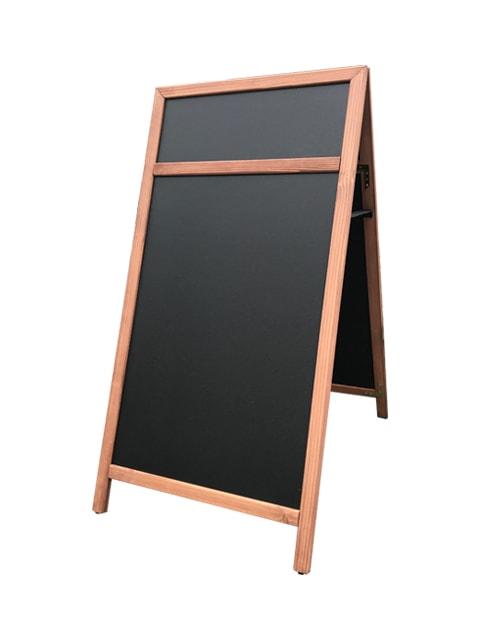 Holz Kundenstopper mit Topschild, wetterfester Holzaufsteller mit Logoschild