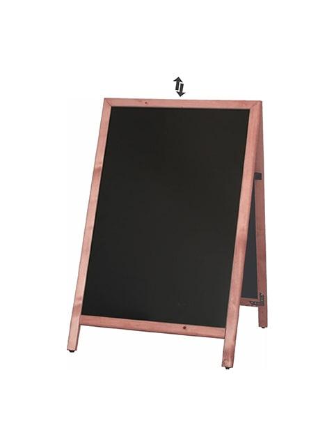 Holz Kundenstopper mit Einschubtafel, Slide in Holzaufsteller mit austauschbarer Kreidetafel