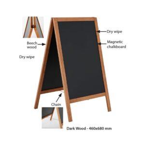 Holz Kundenstopper mit magnetischer Kreidetafel wetterfest und für den Aussenbereich einsetzbar
