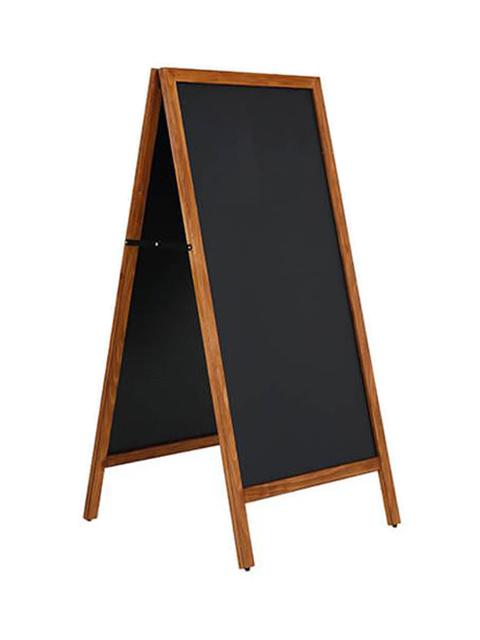 Holz Kundenstopper mit magnetischer Tafel, Holzaufsteller mit Kreidematfel magnetisch 145x67cm, hellbraun