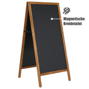 Magnetischer Kundenstopper Kreidetafel grosse für Outdoor Werbung, Restaurant Holzaufsteller mit magnetischer Kreidetafel, Hellbrauner Kundenstopper wetterfest