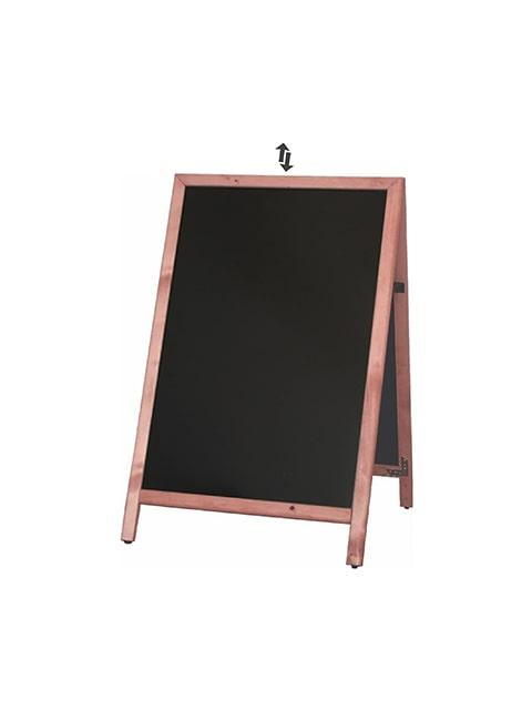 Holz Kundenstopper mit Slide in Tafel, Holzaufsteller mit austauschbarer Kreidetafel