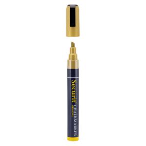 Kreidemarker Gold Securit mit 2-6mm Spitze, Kreidestifte für die Beschriftung von Kreidetafeln und Wandtafeln, Metalic Kreidemarker Gold Securit