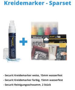 Kreidemarker-Sparset 1, 15mm weiss, farbe + Schwamm.
