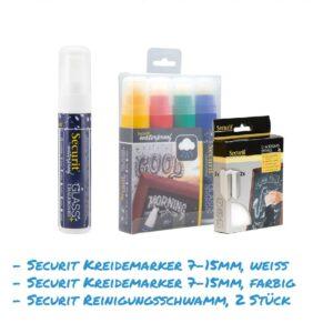 Kreidemarker-Sparset 6 7-15mm, weiss und farbig, Reinigungsschwamm für Kundenstopper, wasserfest