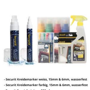 Kreidemarker-Sparset 10, 6mm-15mm weiss, 6mm-15mm farbe + Reiniger + Schwamm.