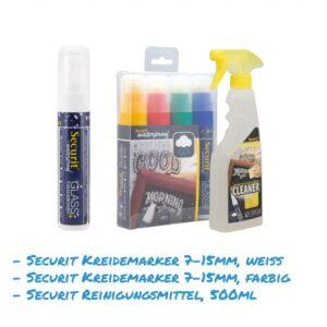 Kreidemarker-Sparset 10 7-15mm weiss, farbig, Reinigungsmittel 500 ml für Kundenstopper, wasserfest