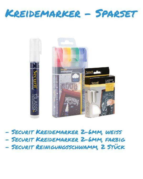 Kreidemarker-Sparset 11 2-6mm weiss, farbig, Reinigungsschwamm für Kundenstopper, wasserfest