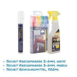 Kreidemarker-Sparset 12 2-6mm weiss, farbig, Reinigungsmittel für Kundenstopper, wasserfest