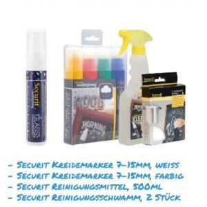 Kreidemarker-Sparset 13 7-15mm weiss, farbig, Reinigungsmittel, Reinigungsschwamm für Kundenstopper, wasserfest
