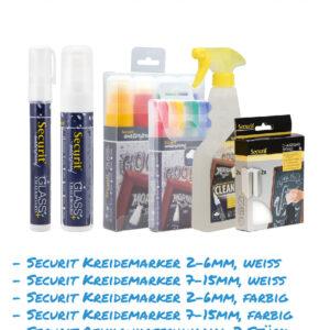 Kreidemarker-Sparset 14 2-6mm weiss, farbig, 7-15mm weiss, farbig, Reinigungsmittel, Reinigungsschwamm für Kundenstopper, wasserfest