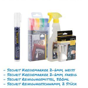 Kreidemarker-Sparset 15 2-6mm weiss, farbig, Reinigungsmittel 500ml, Reinigungsschwamm für Kundenstopper, wasserfest