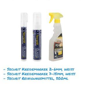 Kreidemarker-Sparset 16 2-6mm weiss, 7-15mm weiss, Reinigungsmittel für Kundenstopper, wasserfest