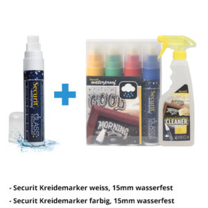 Kreidemarker-Sparset 2, 15mm weiss, farbe + Reiniger