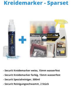 Kreidemarker-Sparset 3, 15mm weiss, farbe + Schwamm + Reiniger