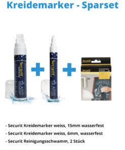Kreidemarker-Sparset 4, 15mm weiss, 6mm weiss + Schwamm.