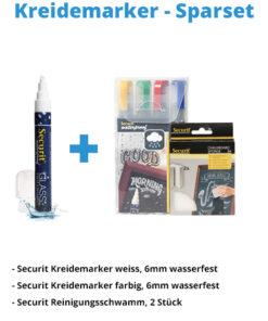Kreidemarker-Sparset 7, 6mm weiss, 6mm farbe + Reiniger + Schwamm