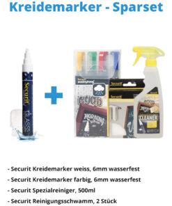 Kreidemarker-Sparset 9, 6mm weiss, 6mm farbe + Schwamm.