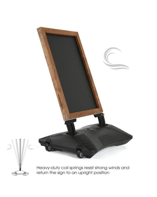 windfester Kundenstopper aus Holz mit Wassertank in Schwarz zum Auffüllen mit Sand oder Wasser, Windpro Wood