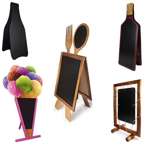 Gastronomie Kreidetafeln für den Innen- und Aussenbereich, Flaschen Kundenstopper und Glace Holzaufsteller