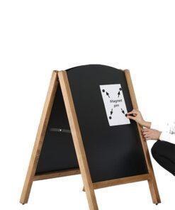 Holz Kundenstopper magnetisch mit austauschbarer Einschubtafel, Slide in Kreidetafel Kundenstopper in hellbraun