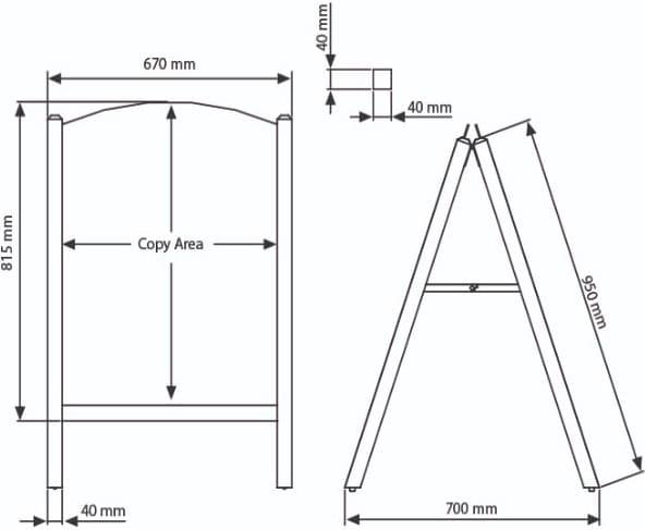 Kundenstopper aus Holz mit magnetischer Tafel austauschbar, Magnetischer Slide In Tafel Kundenstopper, Technische Details