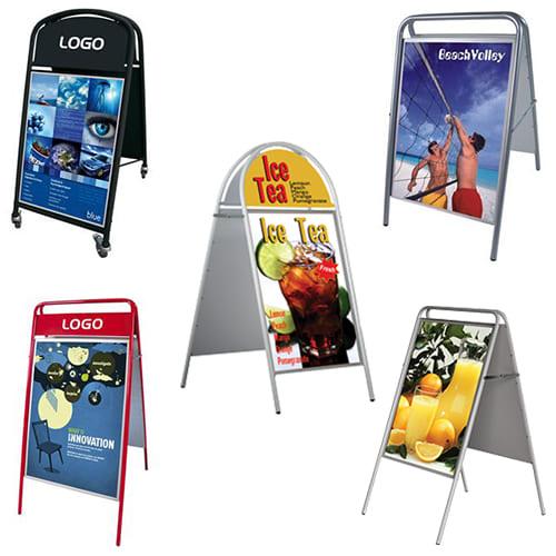 Kundenstopper aus Stahl für den Einsatz im Aussenbereich, wetterfeste Strassenständer für Restaurants und Bars, Stahlrohr Kundenstopper Werbeaufsteller