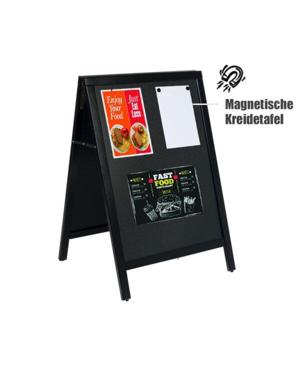 magnetische Holz Kundenstopper mit Holzrahmen schwarz, Magnetischer Holzaufsteller mit Kreidetafel 105x67cm (4) (1)
