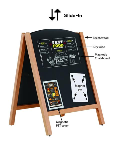 magnetischer Holz Kundenstopper mit austauschbarer Kreidetafel, Slide in Tafel Kundenstopper in hellbraun, 100x68cm