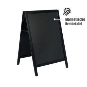 magnetischer Holz Kundenstopper mit schwarzem Holzrahmen, Magnetischer Holzaufsteller mit Kreidetafel 105x67cm (1)