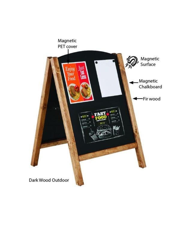 schwerer Holz Kundenstopper mit magnetischer Kreidetafel beschriftet mit Kreidemarker und magnetischen Folientaschen