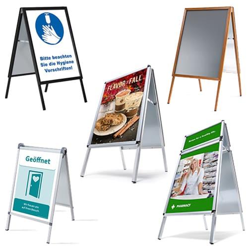 wetterfeste Kundenstopper aus Aluminium für den Innen und Aussenbereich, Alu Kundenstopper Strassenständer