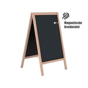 Holz Kundenstopper mit magnetischer Kreidetafel zum Beschriften mit Kreide oder Magnetfolie