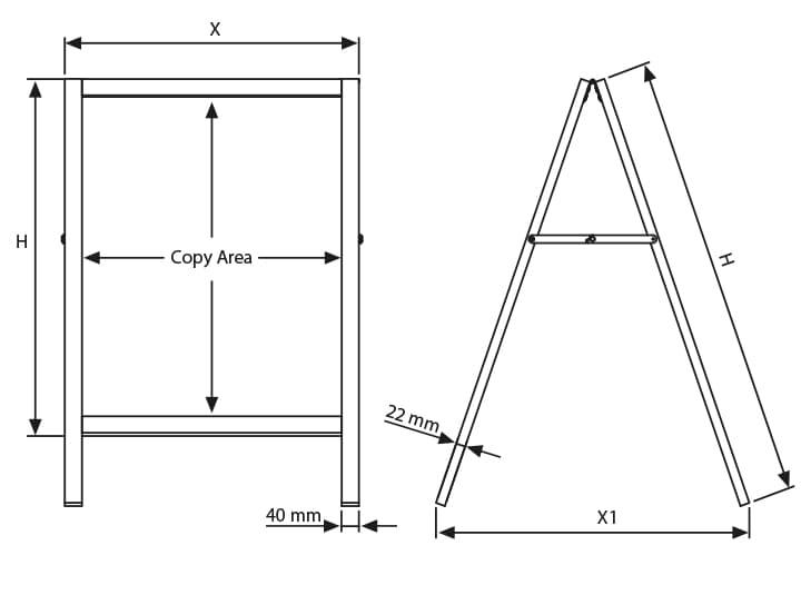 Technische Skizze Kundenstopper Aufsteller aus Holz