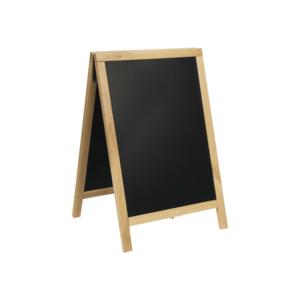 schwerer Holz Kundenstopper mit Holzrahmen und beschriftbarer Kreidetafel für Restaurants und Bars
