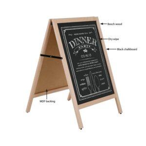 Holz Kundenstopper Aufsteller mit beschriftbarer Kreidetafel in Buche, Holzaufsteller für Restaurants