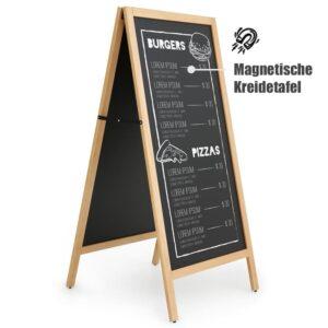 Beschrifteter Holz Kundenstopper mit magnetischer Tafel, XXL Tafel aufstellbar mit Holzrahmen (1)