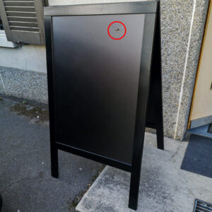 Holz Kundenstopper 125x70cm, Schwarz, WETTERFEST vorne