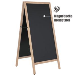 Kundenstopper Kreidetafel Aufsteller magnetisch 145x67cm in wetterfester Ausführung, wetterfester Holzaufsteller als Werbetafel für Restaurants (1)