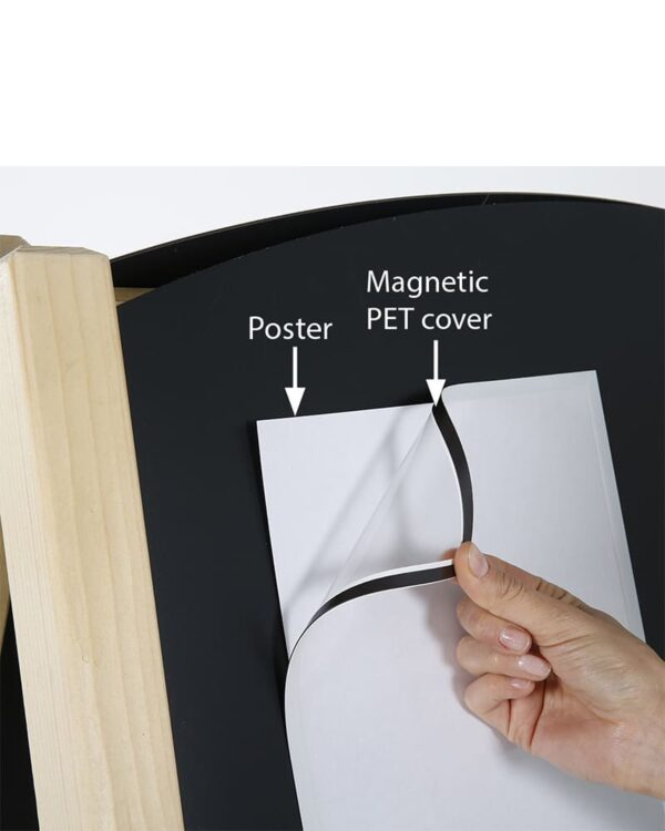 Kundenstopper mit magnetischer Kreidetafel Metall wird beschriftet mit Poster und darüber eine Schutzfolie mit Magnetband