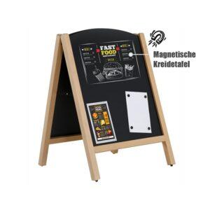 beschrifteter Holzaufsteller mit Kreidetafel magnetisch, Beschriftete Kreidetafel mit Kreidemarker und Magnettaschen