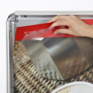 Plakat einfügen Kundenstopper Alu Maki, Kundenstopper mit T-Fuss Werbung mittels Plakaten