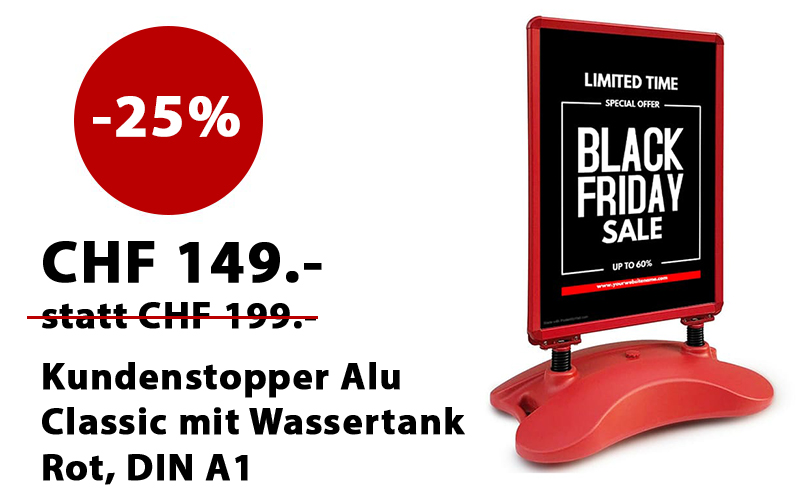 Black Friday Kundenstopper rot mit Wassertank