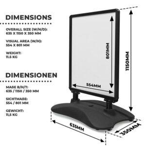 Dimension des schwarzen Alu Kundenstopper mit Fusstank