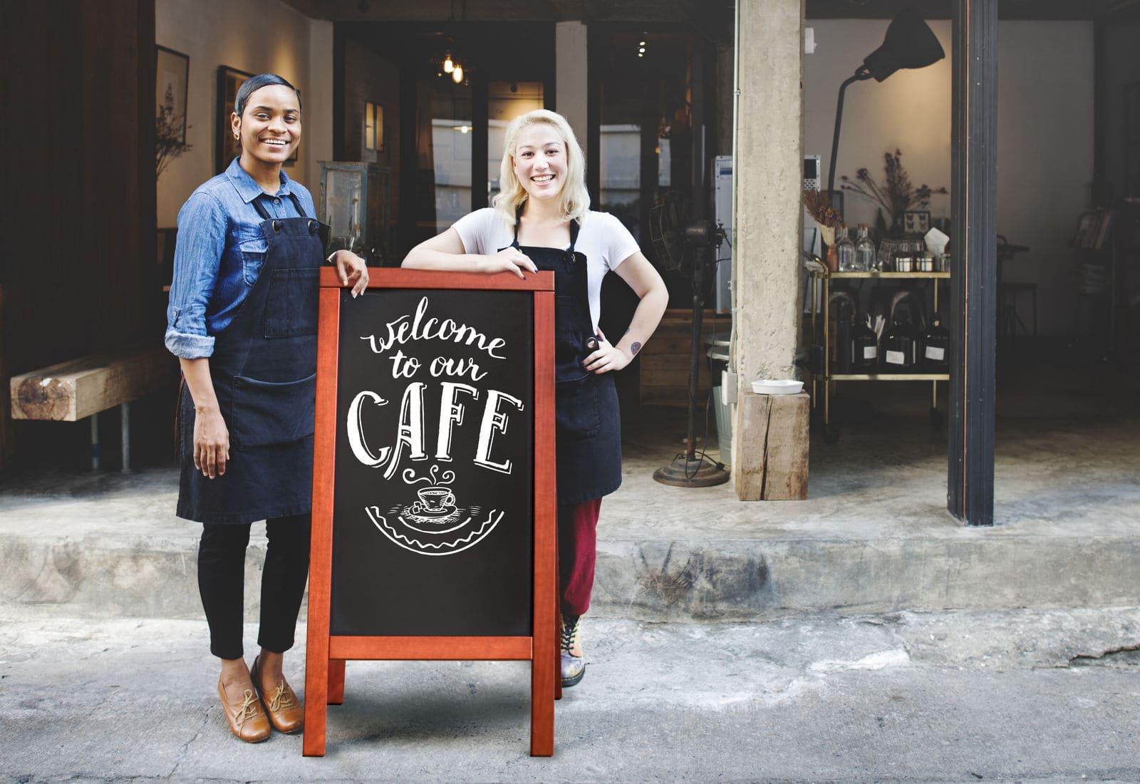 Holz Kundenstopper Mahagoni für Caffees, Restaurants, Bars - Black Friday Sale bei Kundenstopper24