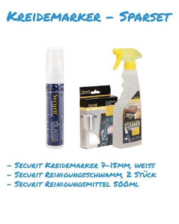 Kreidemarker-Sparset 9 7-15mm weiss, Reinigungsschwamm, Reinigungsmittel 500ml für Kundenstopper, wasserfest