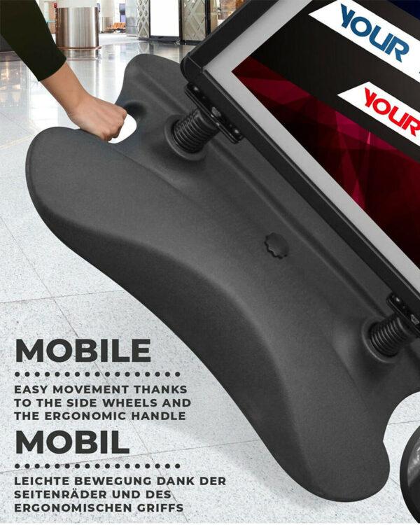 leichter Transport Alu Kundenstopper schwarz wetterfest mit seitlichen Rollen