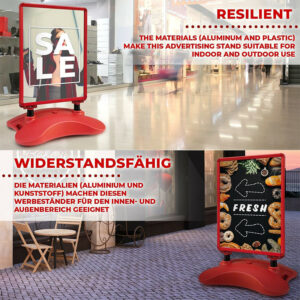roter Kundenstopper mit Wassertank aufgestellt in der Einkaufspassage inklusive Plakate