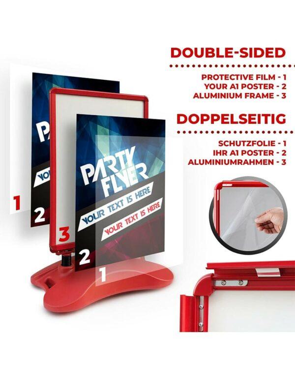 roter Plakatständer inklusive Antireflex UV Schutzfolien und auffüllbarem Wassertank