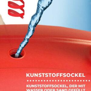 roter Wassertank auffüllbar mit Wasser oder Sand für den roten Kundenstopper mit Fusstank